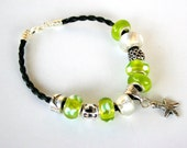 Leather  european bracelet with green murano beads