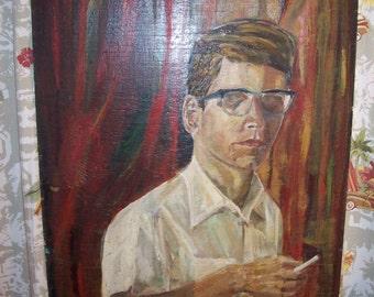 Vintage Pop Culture Man Beatnik Cigarette Painting Primitive