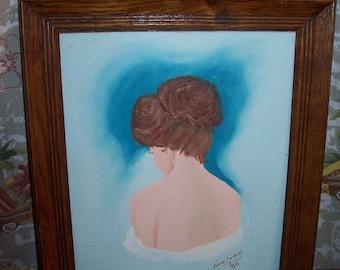 Original Painting Auburn Hair Lady Semi Nude Signed Vintage