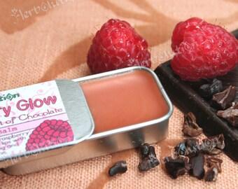 Organic Raspberry Chocolate Lip balm - natural lip moisturizer in a retro tin