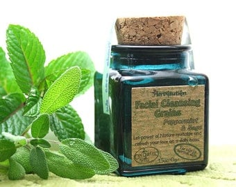 Organic Cleansing Grains Peppermint Sage Facial scrub polish natural in a recycled glass jar VEGAN