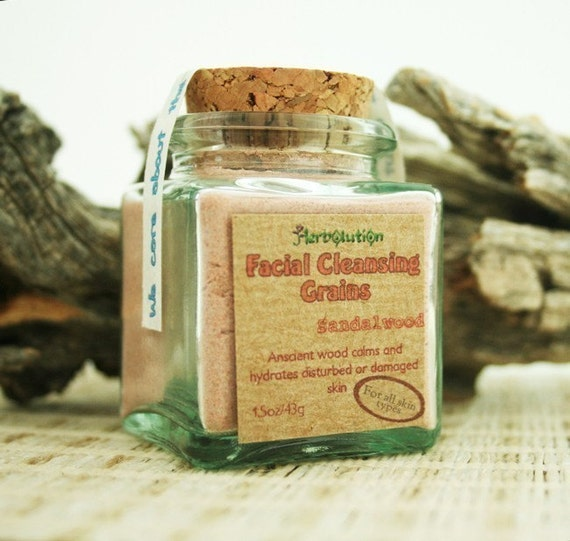 Sandalwood Facial Cleansing Grains gentle polish natural eco-friendly in a recycled glass jar