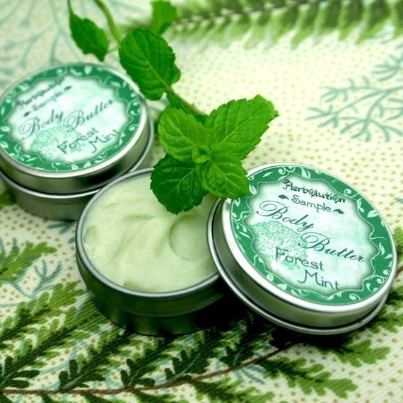Organic Body Butter - Vegan skin lotion - unrefined Shea butter SAMPLE - Minty Forest