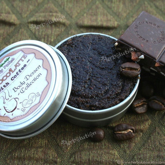 Organic Body Scrub Chocolate Coffee - natural body polish Sample from Body Desserts collection