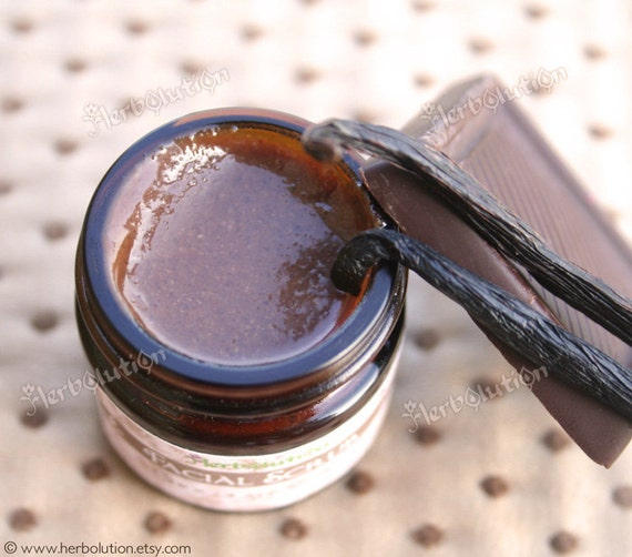 Chocolate Vanilla Organic Facial Scrub. Natural delicious polish for face and exfoliation. 1.8 oz