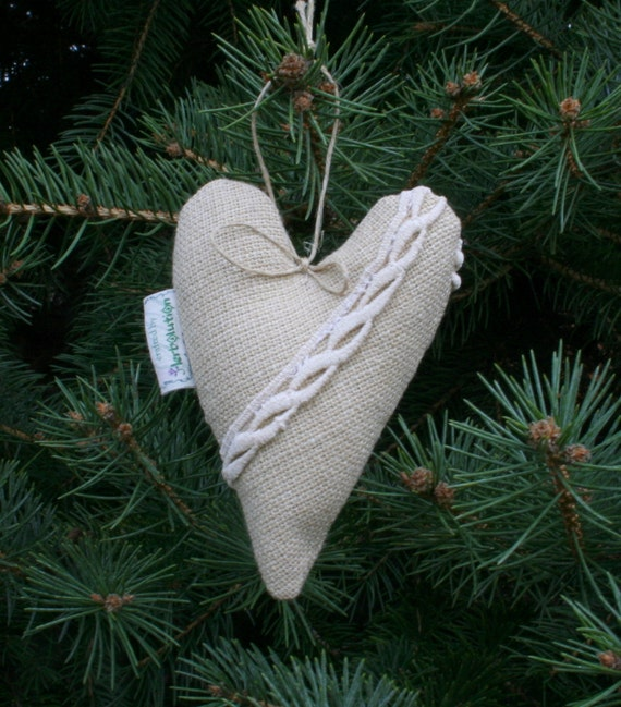 Organic Lavender Heart Sachet ornament hanging decoration for office or home SALE