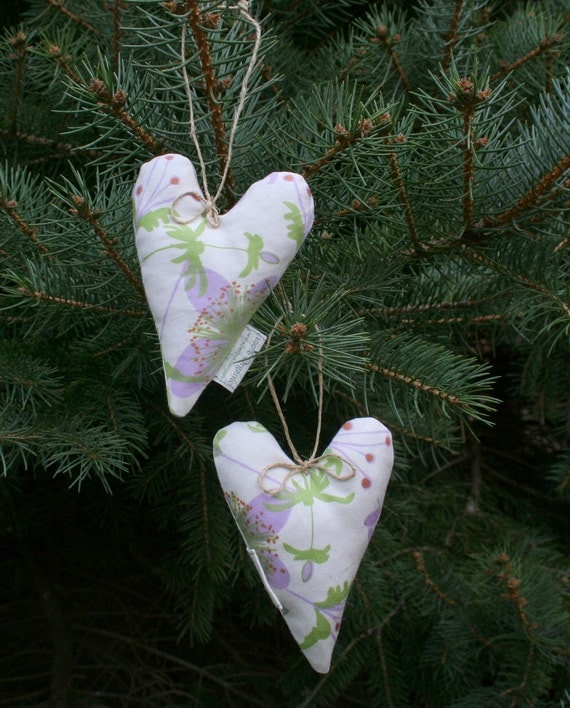 Ornament set of 2 Organic Lavender Heart Sachets hanging decoration for office or home SALE