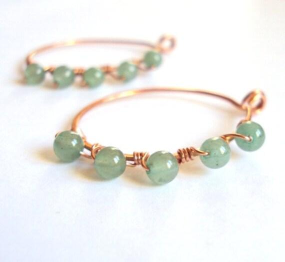 Copper Nobuki earrings Olive, for non pierced ears