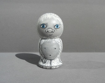 Yeti Kokeshi Doll Wooden Handpainted