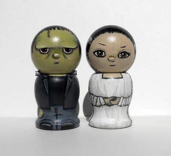 Frankenstein and Bride Cake Toppers- Kokeshi Dolls