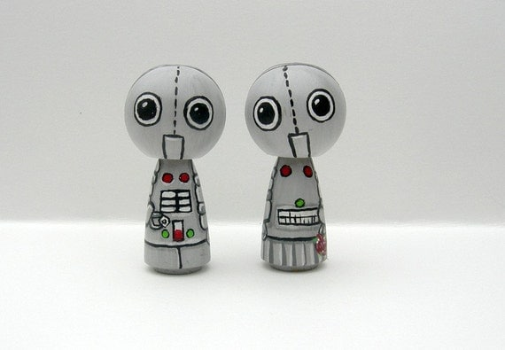 Robot Cake Toppers Love Bots - Kokeshi Doll