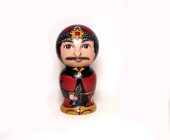 Vlad the Impaler  Wooden Handpainted Kokeshi Doll