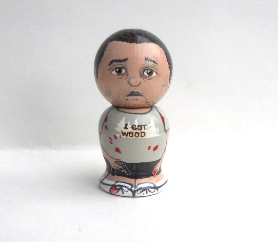 Ed from Shaun of the Dead Wooden Handpainted Kokeshi Doll