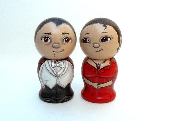 Count Dracula and Mina Wedding Cake Topper Keepsakes Kokeshi Dolls