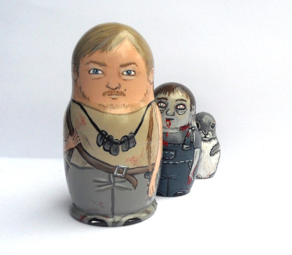 Daryl and Zombie Nesting Dolls Set of 3