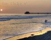 Sunset and surfer at the Oceanside Pier. Fine Art Photography.
