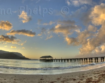 Sunset at the beach. Hanalei  Bay Pier in Kauai. Fine Art Photography.