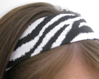 Zebra - Animal Print - Black and White Stay Put Headband