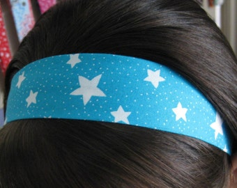 Aqua Teal Blue Stay Put Headband w/ Shining White Stars