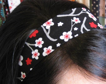 Black Stay Put Headband w/ Red and White Cherry Blossom Flowers