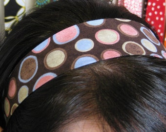 Brown w/ Multicolored Polka Dots - Stay Put Headband