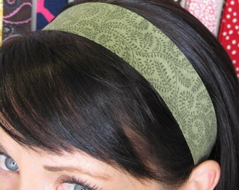 Olive Green Stay Put Headband w/ Vines