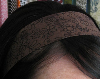 Chocolate Brown Stay Put Headband w/ Flower Outlines