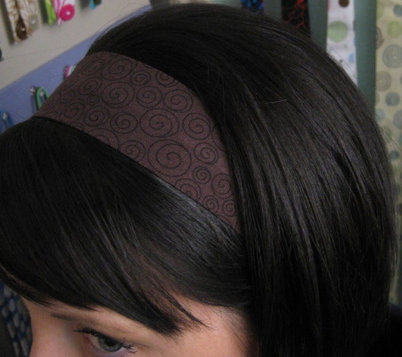 Chocolate Brown Stay Put Headband w/ Little Swirls