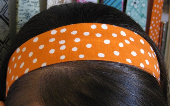 Orange Stay Put Headband w/ White Polka Dots