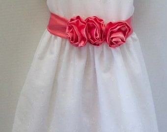 Custom Made White Eyelet  Flower Girl Dress