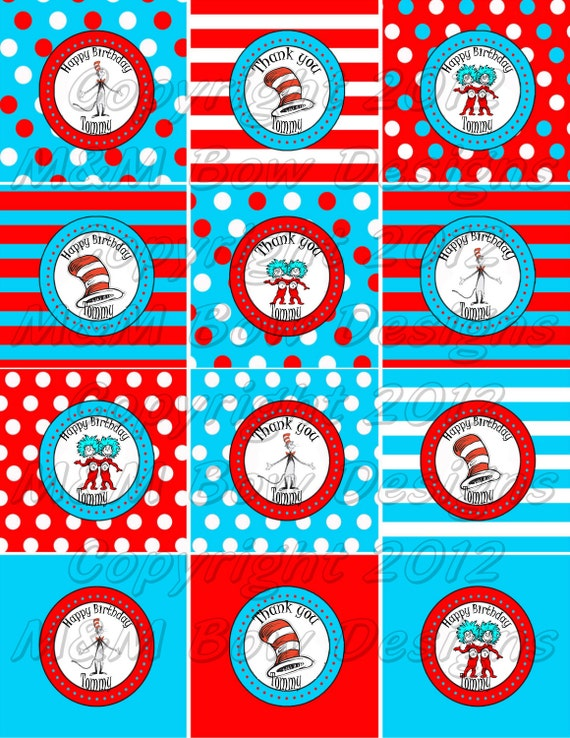 Dr Seuss Cat in the Hat Personalized Printable Birthday Party Thank ...