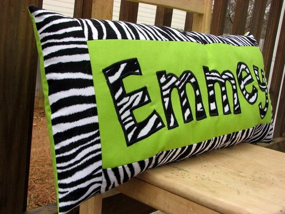 Personalized Name Pillow - Zebra print and Lime