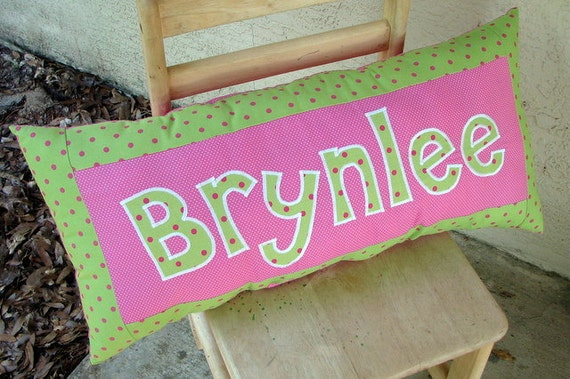 Personalized Name Pillow - Green and Pink with white polka dots