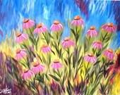 Purple Coneflowers 24x36  Original Painting -  FREE SHIPPING