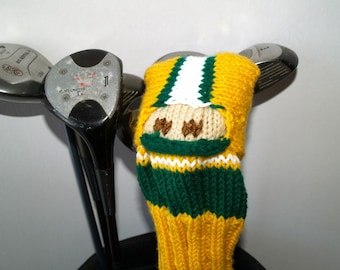 Green Bay, Packers, Football, Golf Club Cover, Golf Headcover, Mens, Gift for Man, Golf Head Cover, Knit, Golf Club Headcover