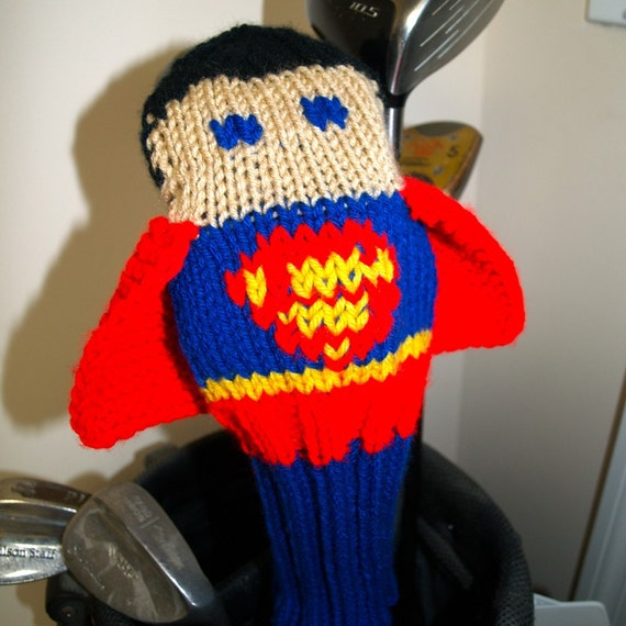 Superman Knitting Pattern : Knit PATTERN Superman Golf Club Cover PDF by TraceyKnits on Etsy