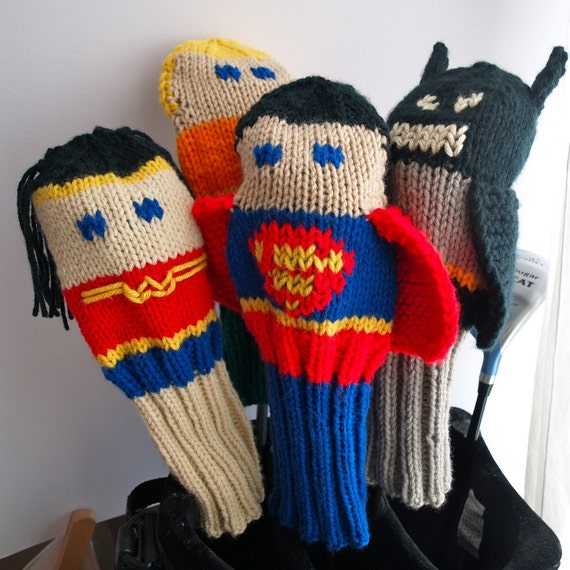 Knitting Pattern Golf Driver Cover : Knit PATTERN Justice League Golf Club Cover Collection PDF