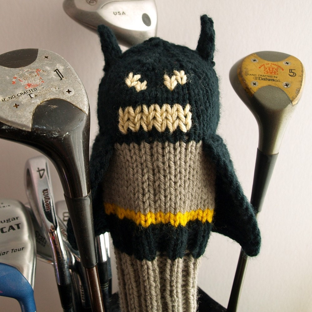 Knitted Golf Club Covers Pattern Free : Knit PATTERN Batman Golf Club Cover PDF