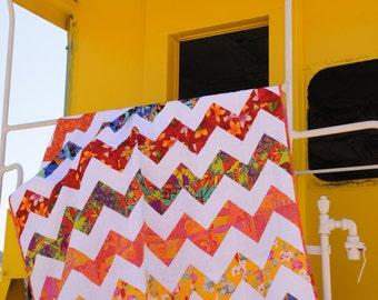 SALE Quilt twin, chevron quilt, zig zag quilt, brights quilt, OOAK quilt, modern quilt