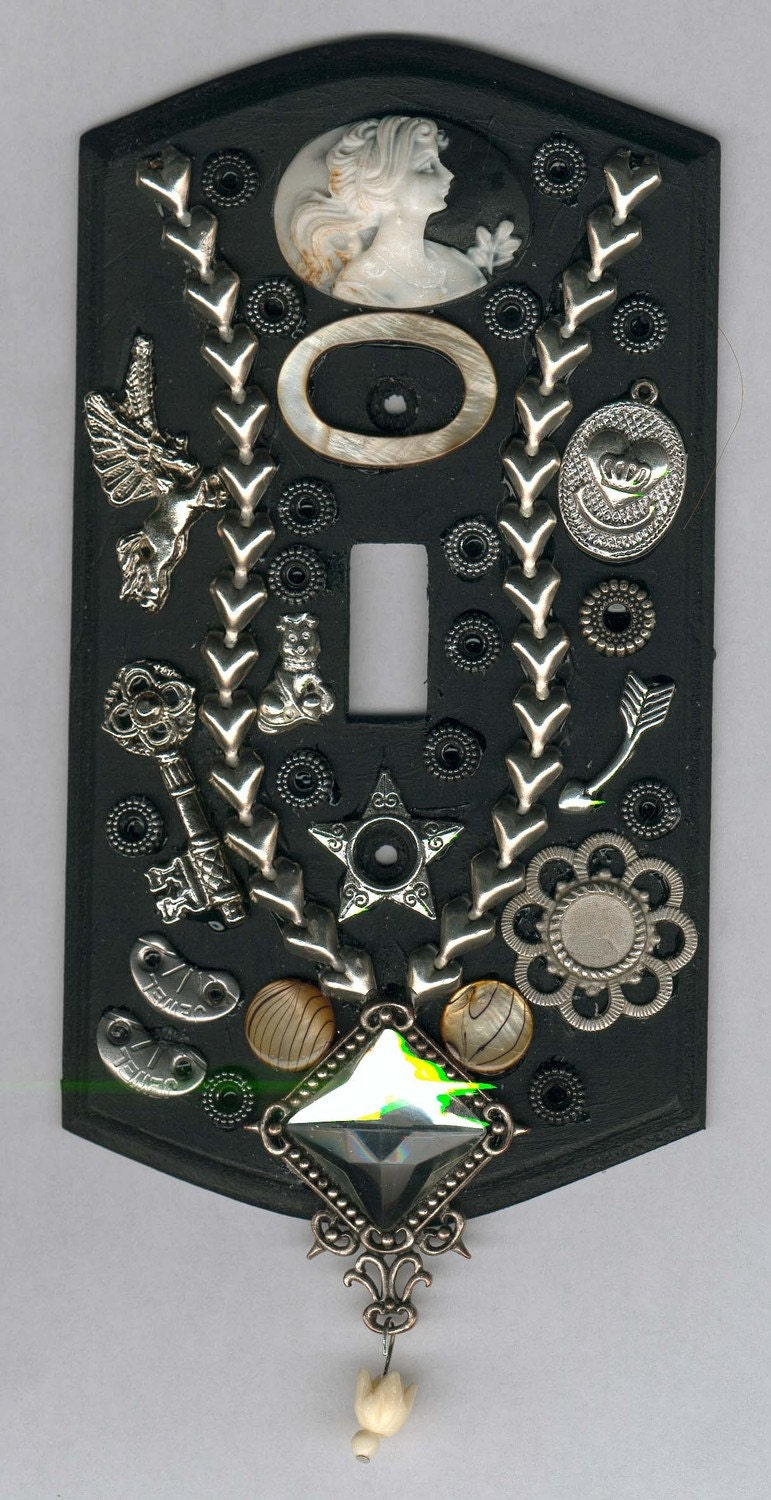 Steampunk Light Switch Cover With Cameo Charms By