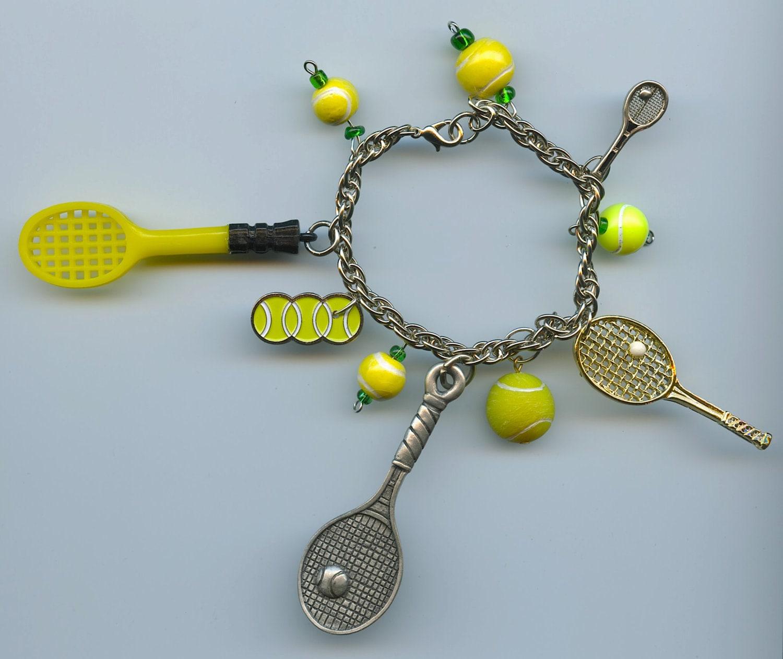 Tennis Charm Bracelet: Vintage Tennis Charms Balls And Rackets Charm Bracelet Unique
