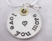Hand Stamped Necklace - Love You More with clear crystal bead