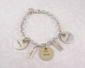 Charm Bracelet - Personalized Hand Stamped Charm Bracelet