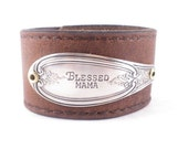 BLESSED MAMA - Hand stamped silver flatware leather cuff