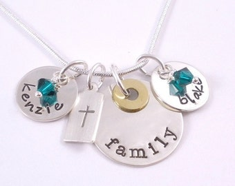 Hand Stamped Family Necklace with Cross