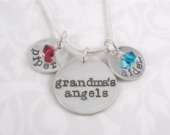 Hand Stamped necklace - Grandma's Angels