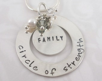 Hand Stamped Family necklace with beads and pearl
