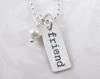 Hand Stamped Sterling Silver Friend Necklace