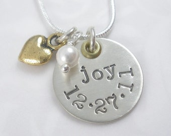 Hand Stamped Sterling Silver Name Charm with date and brass heart