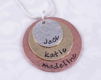 Mixed Metal Layered Personalized Mom Necklace